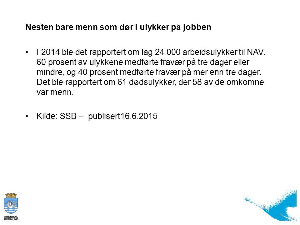Nesten bare menn som dør i ulykker på jobben I 2014 ble det rapportert om lag 24 000 arbeidsulykker til NAV.