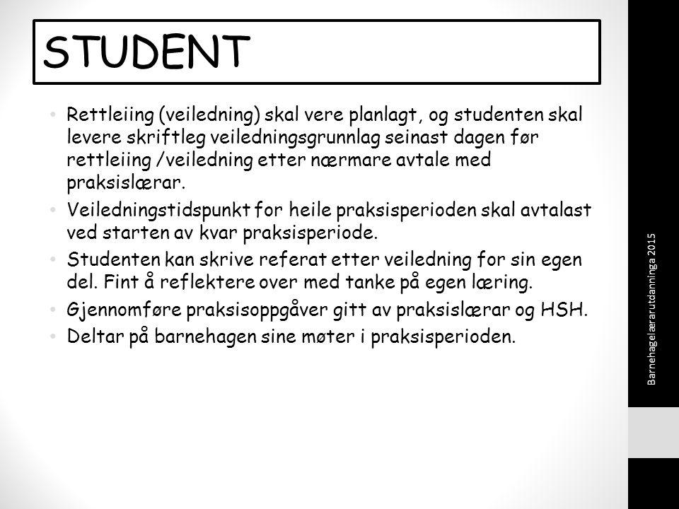 STUDENT Rettleiing (veiledning) skal vere planlagt, og studenten skal levere skriftleg veiledningsgrunnlag seinast dagen før rettleiing /veiledning etter nærmare avtale med praksislærar.