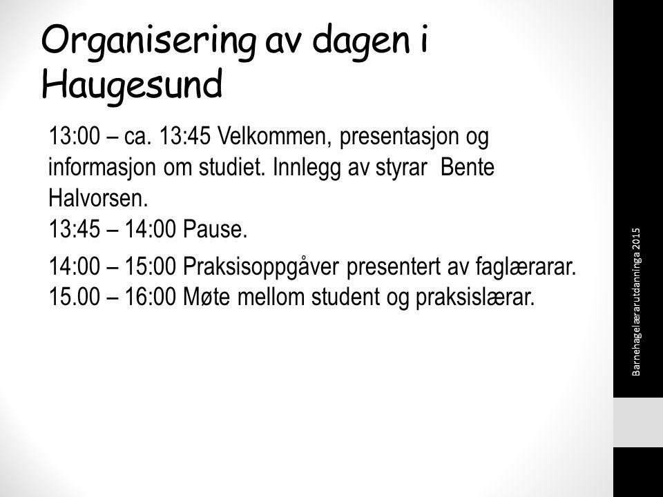 Organisering av dagen i Haugesund 13:00 – ca.