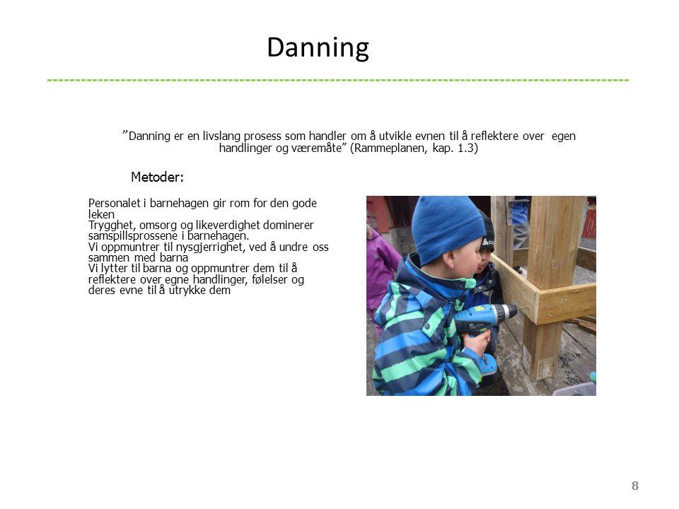 """"""" Danning er en livslang prosess som handler om å utvikle evnen til å reflektere over egen handlinger og væremåte"""" (Rammeplanen, kap. 1.3) Metoder: Pe"""