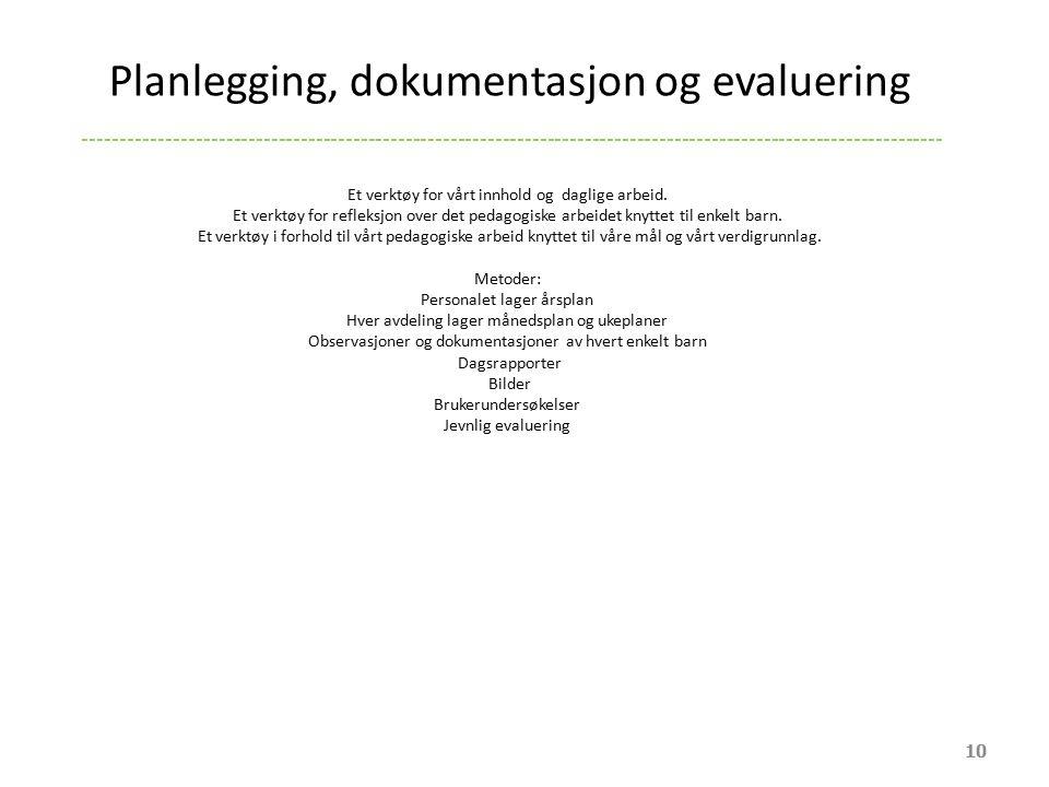 Planlegging, dokumentasjon og evaluering 10 ----------------------------------------------------------------------------------------------------------