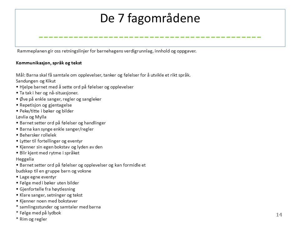 De 7 fagområdene -------------------------------------------- 14 Rammeplanen gir oss retningslinjer for barnehagens verdigrunnlag, innhold og oppgaver