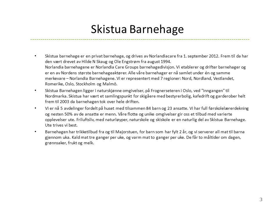 Skistua Barnehage Skistua barnehage er en privat barnehage, og drives av Norlandiacare fra 1. september 2012. Frem til da har den vært drevet av Hilde