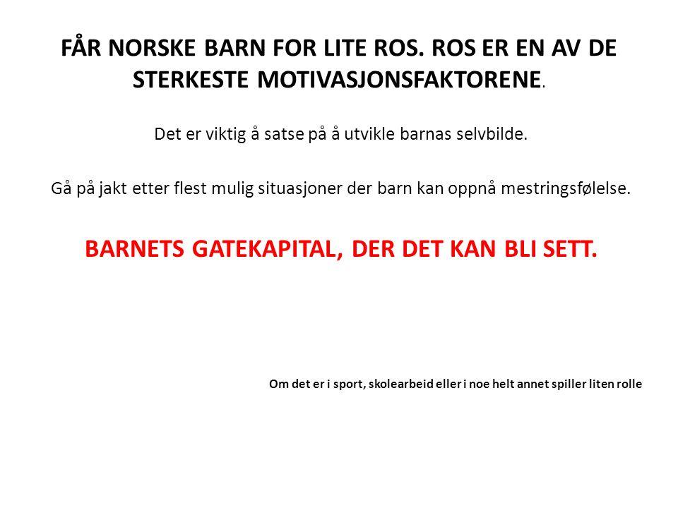 FÅR NORSKE BARN FOR LITE ROS.ROS ER EN AV DE STERKESTE MOTIVASJONSFAKTORENE.