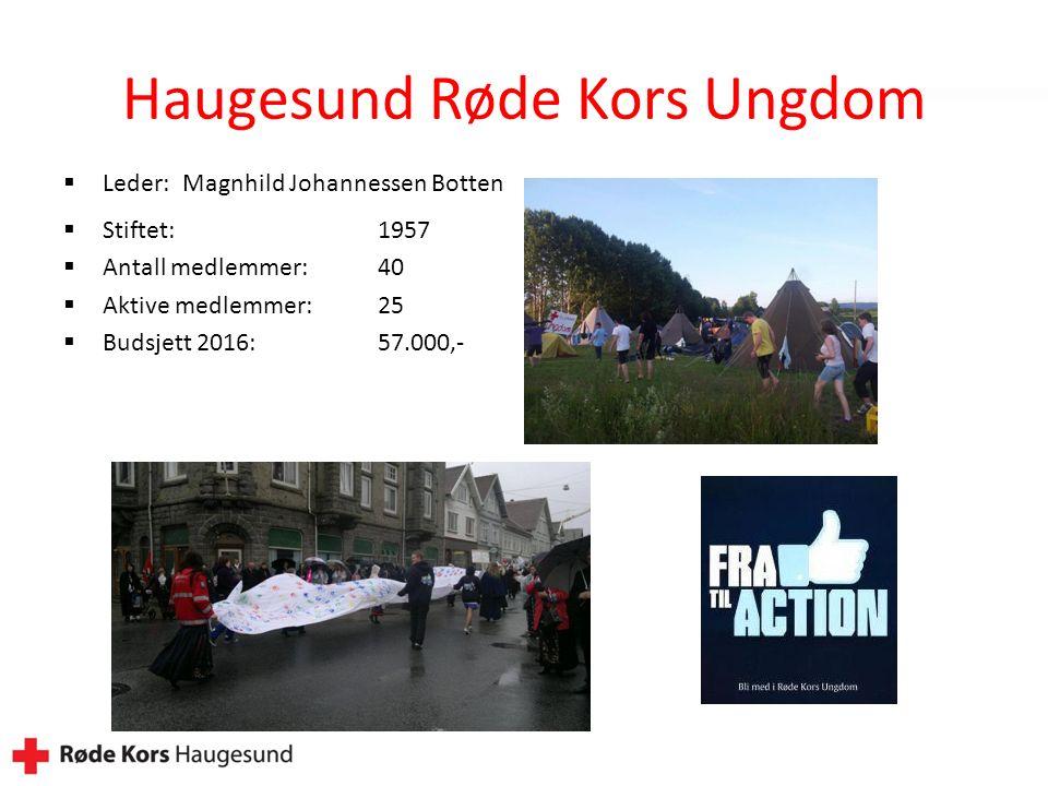 Haugesund Røde Kors Ungdom  Leder: Magnhild Johannessen Botten  Stiftet:1957  Antall medlemmer:40  Aktive medlemmer:25  Budsjett 2016: 57.000,-