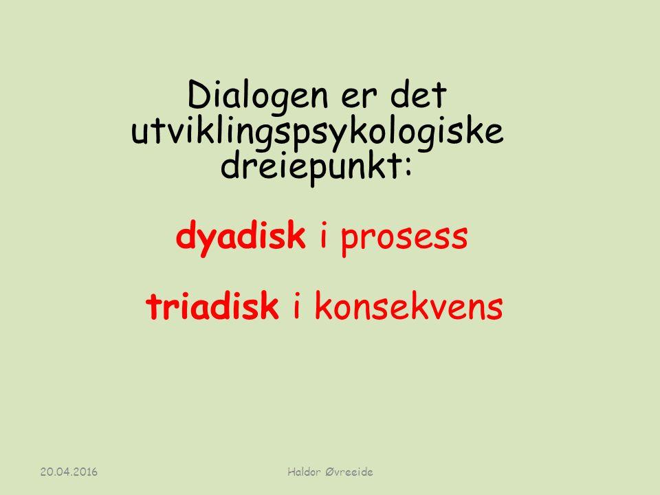 20.04.2016 Dialogen er det utviklingspsykologiske dreiepunkt: dyadisk i prosess triadisk i konsekvens Haldor Øvreeide
