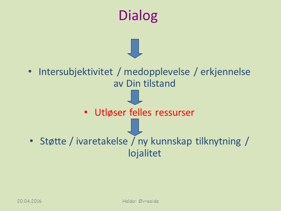 Dialog Intersubjektivitet / medopplevelse / erkjennelse av Din tilstand Utløser felles ressurser Støtte / ivaretakelse / ny kunnskap tilknytning / lojalitet 20.04.2016Haldor Øvreeide
