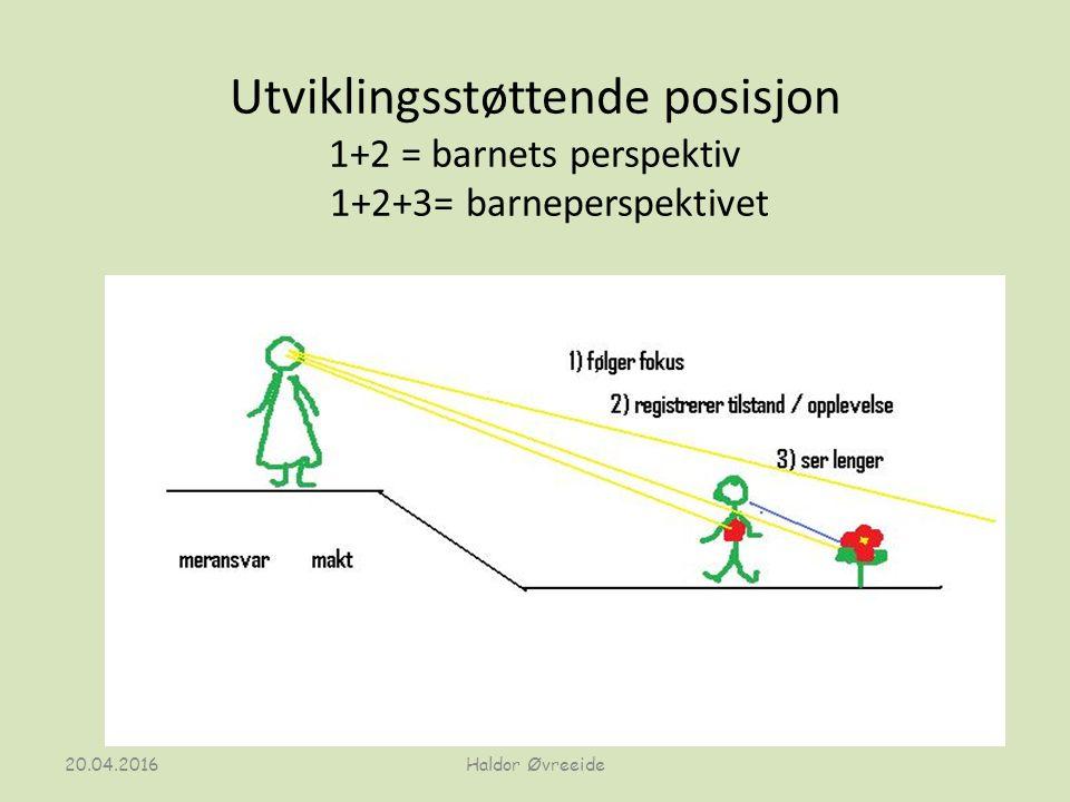 Utviklingsstøttende posisjon 1+2 = barnets perspektiv 1+2+3= barneperspektivet 20.04.2016Haldor Øvreeide