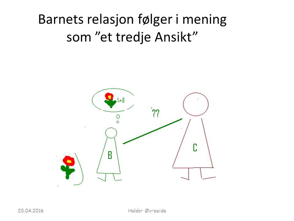 """Barnets relasjon følger i mening som """"et tredje Ansikt"""" 20.04.2016Haldor Øvreeide"""