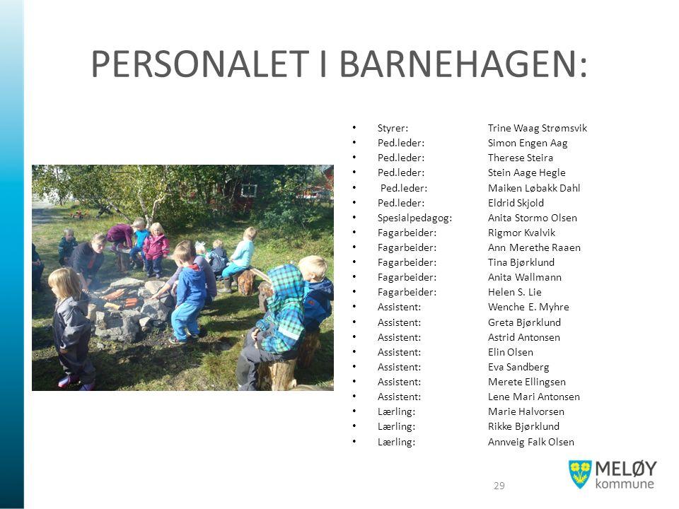 PERSONALET I BARNEHAGEN: Styrer: Trine Waag Strømsvik Ped.leder: Simon Engen Aag Ped.leder:Therese Steira Ped.leder:Stein Aage Hegle Ped.leder: Maiken