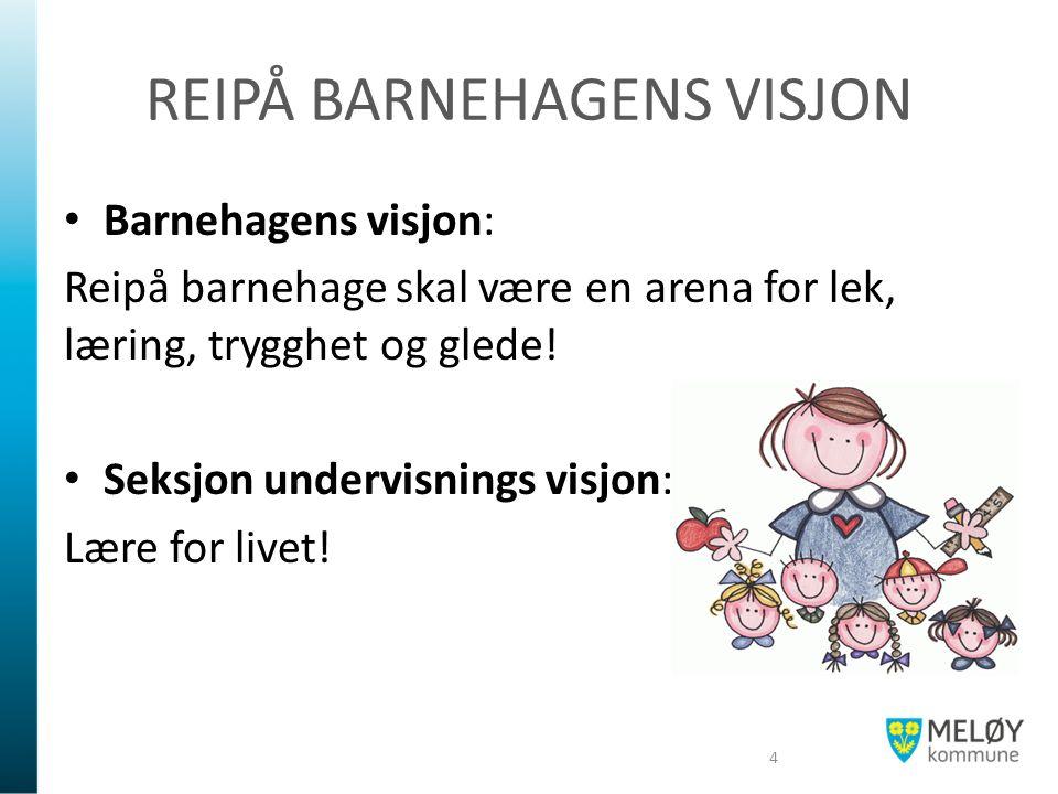 REIPÅ BARNEHAGENS VISJON Barnehagens visjon: Reipå barnehage skal være en arena for lek, læring, trygghet og glede! Seksjon undervisnings visjon: Lære