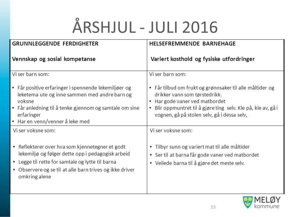 ÅRSHJUL - JULI 2016 GRUNNLEGGENDE FERDIGHETER Vennskap og sosial kompetanse HELSEFREMMENDE BARNEHAGE Variert kosthold og fysiske utfordringer Vi ser b