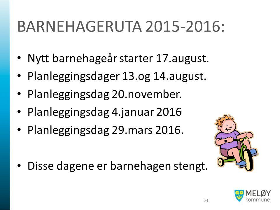 BARNEHAGERUTA 2015-2016: Nytt barnehageår starter 17.august. Planleggingsdager 13.og 14.august. Planleggingsdag 20.november. Planleggingsdag 4.januar