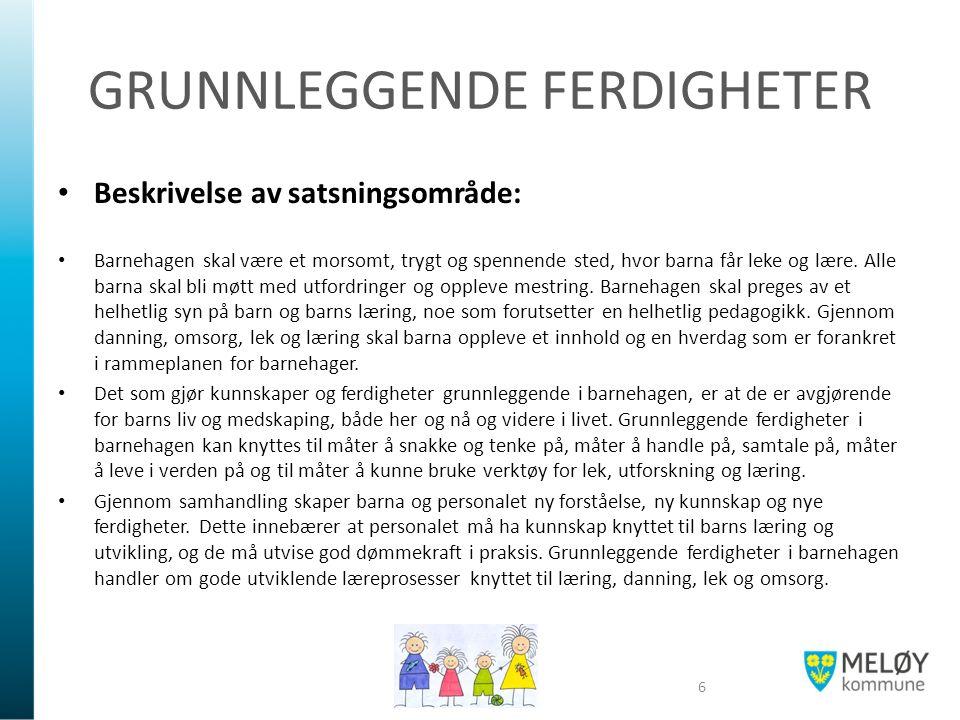 GRUNNLEGGENDE FERDIGHETER Beskrivelse av satsningsområde: Barnehagen skal være et morsomt, trygt og spennende sted, hvor barna får leke og lære.