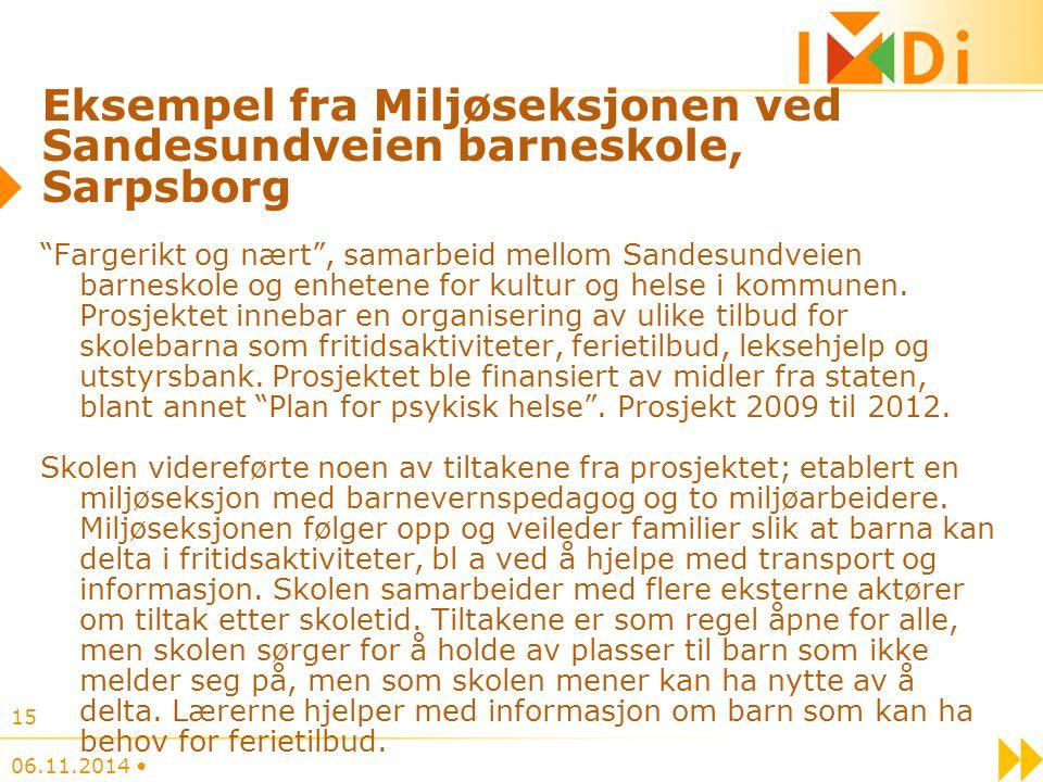 Eksempel fra Miljøseksjonen ved Sandesundveien barneskole, Sarpsborg Fargerikt og nært , samarbeid mellom Sandesundveien barneskole og enhetene for kultur og helse i kommunen.