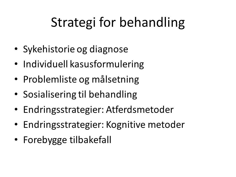Strategi for behandling Sykehistorie og diagnose Individuell kasusformulering Problemliste og målsetning Sosialisering til behandling Endringsstrategier: Atferdsmetoder Endringsstrategier: Kognitive metoder Forebygge tilbakefall