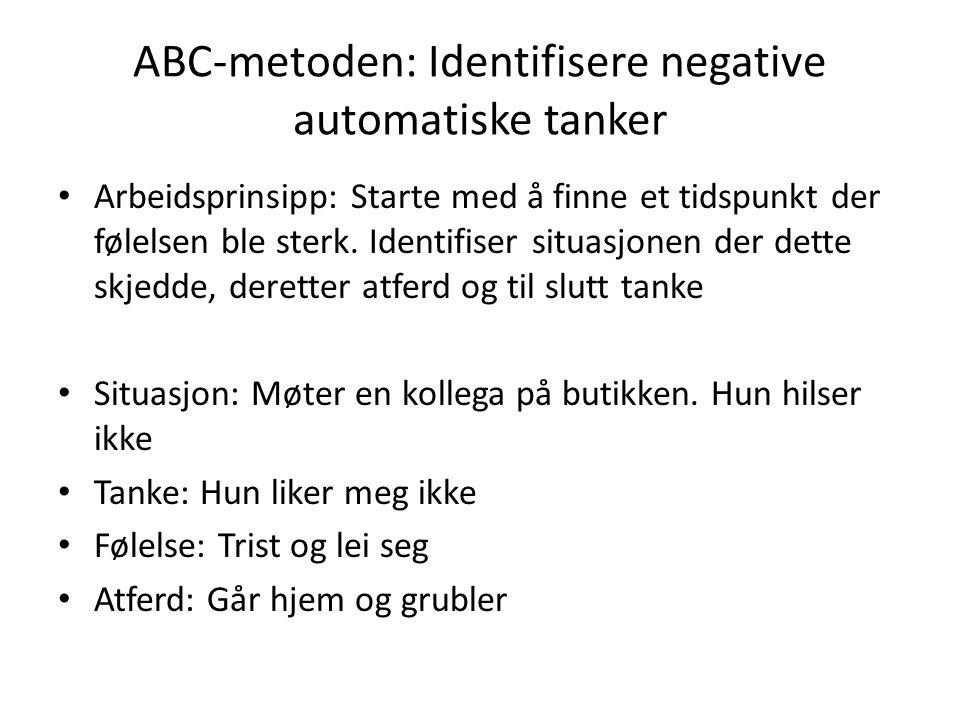 ABC-metoden: Identifisere negative automatiske tanker Arbeidsprinsipp: Starte med å finne et tidspunkt der følelsen ble sterk.