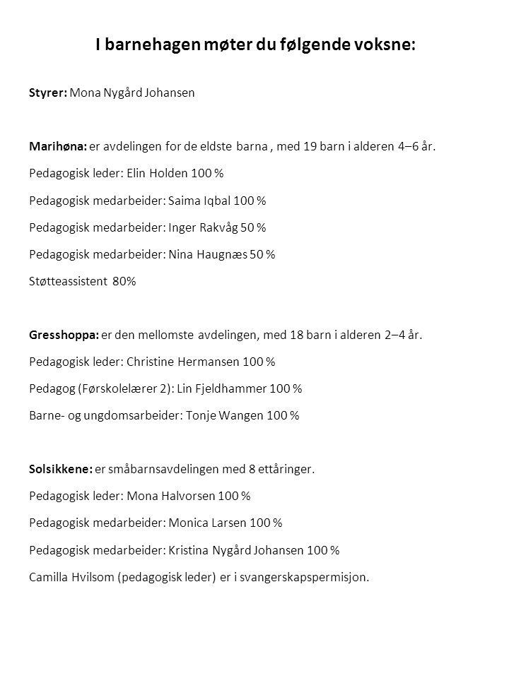I barnehagen møter du følgende voksne: Styrer: Mona Nygård Johansen Marihøna: er avdelingen for de eldste barna, med 19 barn i alderen 4–6 år. Pedagog