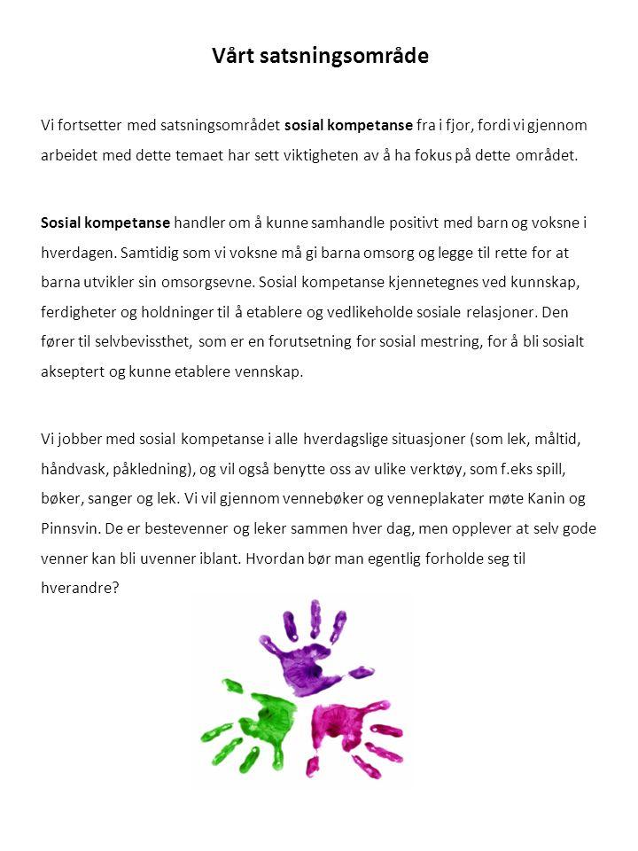 Vårt satsningsområde Vi fortsetter med satsningsområdet sosial kompetanse fra i fjor, fordi vi gjennom arbeidet med dette temaet har sett viktigheten