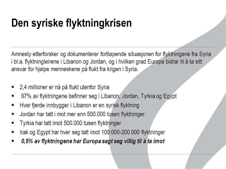 Den syriske flyktningkrisen  I verdens nest største flyktningleir, Za'atri, i Jordan kan ikke kvinner og jentebarn lenger gå på toalettet etter mørkets frembrudd i frykt for voldtekt, og antallet tilfeller av voldtekt, seksuell trakassering og tvangsgifte øker dramatisk  Libanon og Jordan har i lang tid sagt at deres samfunn kneler under å måtte bære en så stor del av byrden, at de ikke makter det verken m.h.t økonomi, infrastruktur og politisk, og de har innstendig bedt europeiske land om å være med på en ansvarsfordeling og ta imot flere flyktninger  UNHCR har gjentatte ganger oppfordret de europeiske landene til å ta imot flere flyktninger fra Syria  Norge har sagt seg villig til å ta imot 1000  Amnesty mener de europeiske lederne bør bøye hodet i skam over sin manglende vilje til å hjelpe de syriske flyktningene, og oppfordrer de europeiske landene til å ta imot et langt større antall flyktninger fra Syria