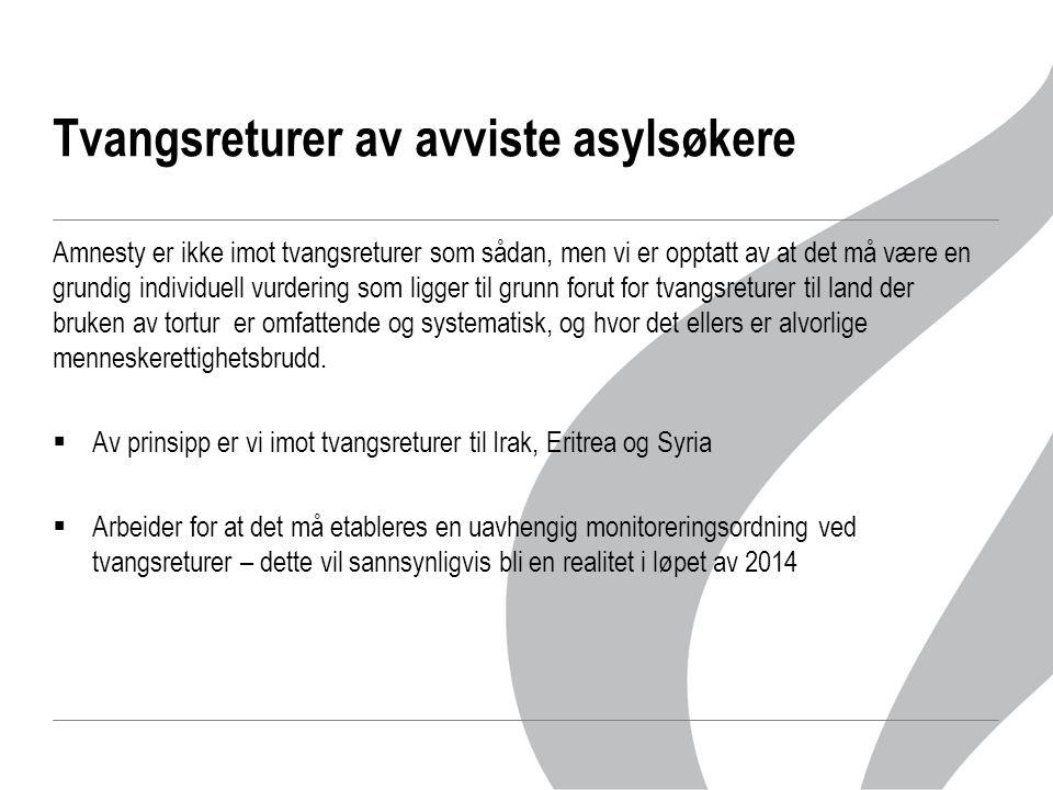 Lukkede mottak (detention) Amnesty er svært kritisk til bruken av lukkede mottak, og da særlig mht.