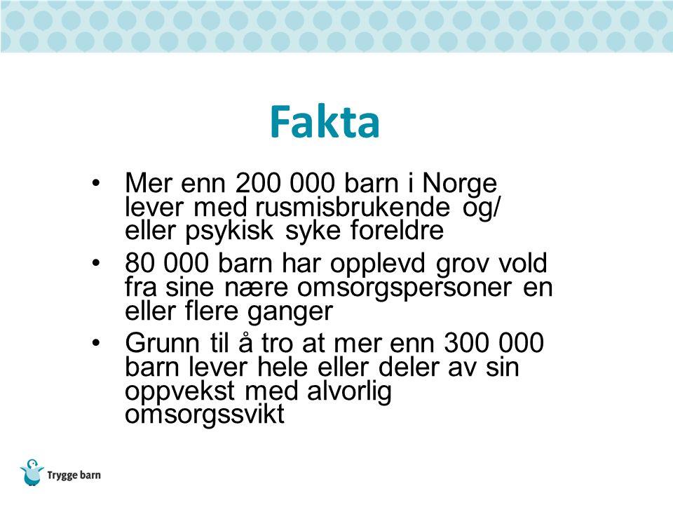 Fakta Mer enn 200 000 barn i Norge lever med rusmisbrukende og/ eller psykisk syke foreldre 80 000 barn har opplevd grov vold fra sine nære omsorgsper