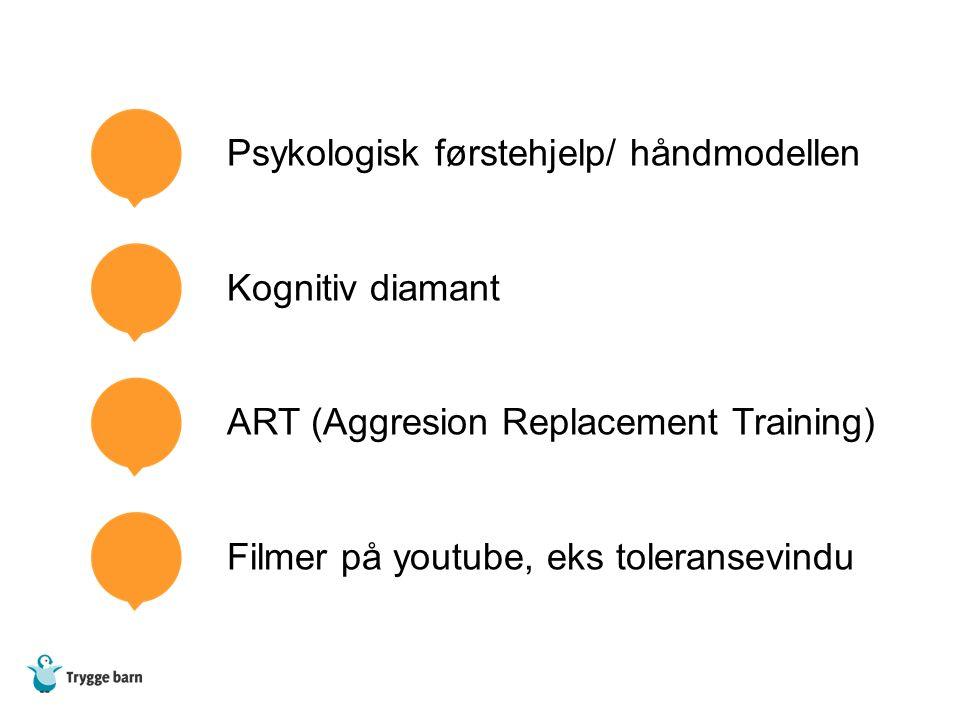 Psykologisk førstehjelp/ håndmodellen Kognitiv diamant ART (Aggresion Replacement Training) Filmer på youtube, eks toleransevindu