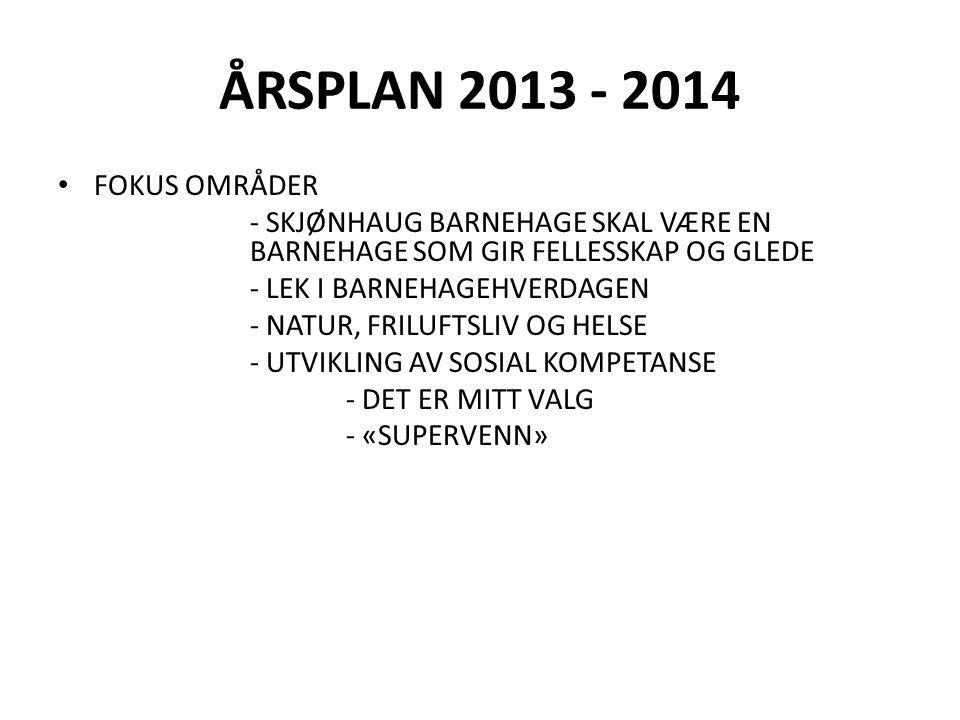 ÅRSPLAN 2013 - 2014 FOKUS OMRÅDER - SKJØNHAUG BARNEHAGE SKAL VÆRE EN BARNEHAGE SOM GIR FELLESSKAP OG GLEDE - LEK I BARNEHAGEHVERDAGEN - NATUR, FRILUFTSLIV OG HELSE - UTVIKLING AV SOSIAL KOMPETANSE - DET ER MITT VALG - «SUPERVENN»