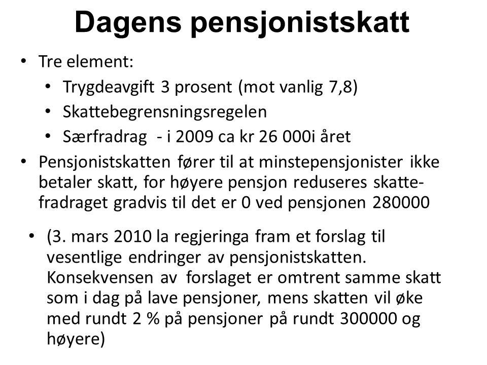 Dagens pensjonistskatt Tre element: Trygdeavgift 3 prosent (mot vanlig 7,8) Skattebegrensningsregelen Særfradrag - i 2009 ca kr 26 000i året Pensjonis