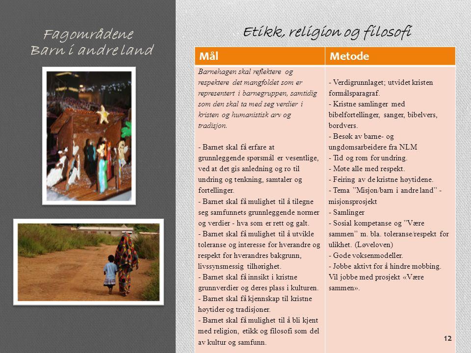 Fagområdene MålMetode Barnehagen skal reflektere og respektere det mangfoldet som er representert i barnegruppen, samtidig som den skal ta med seg verdier i kristen og humanistisk arv og tradisjon.