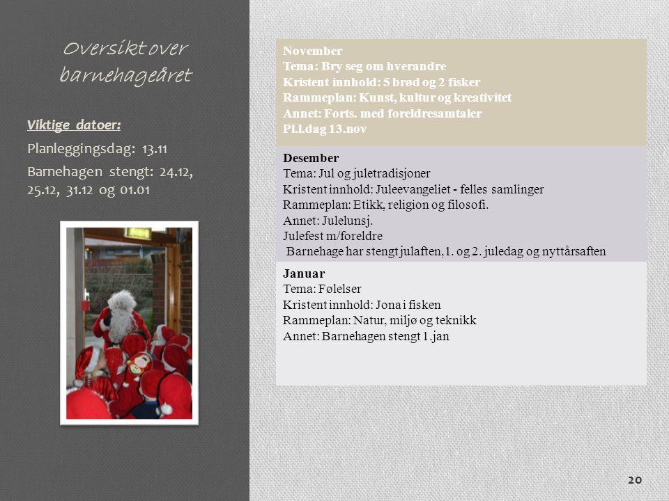 Oversikt over barnehageåret November Tema: Bry seg om hverandre Kristent innhold: 5 brød og 2 fisker Rammeplan: Kunst, kultur og kreativitet Annet: Forts.
