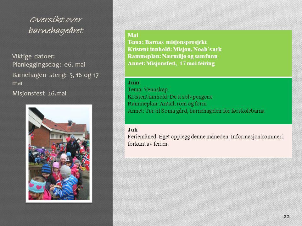 Oversikt over barnehageåret Mai Tema: Barnas misjonsprosjekt Kristent innhold: Misjon, Noah`s ark Rammeplan: Nærmiljø og samfunn Annet: Misjonsfest, 1
