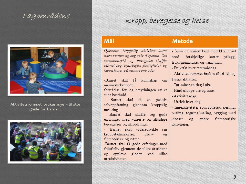 Fagområdene MålMetode Gjennom kroppslig aktivitet lærer barn verden og seg selv å kjenne. Ved sanseinntrykk og bevegelse skaffer barnet seg erfaringer