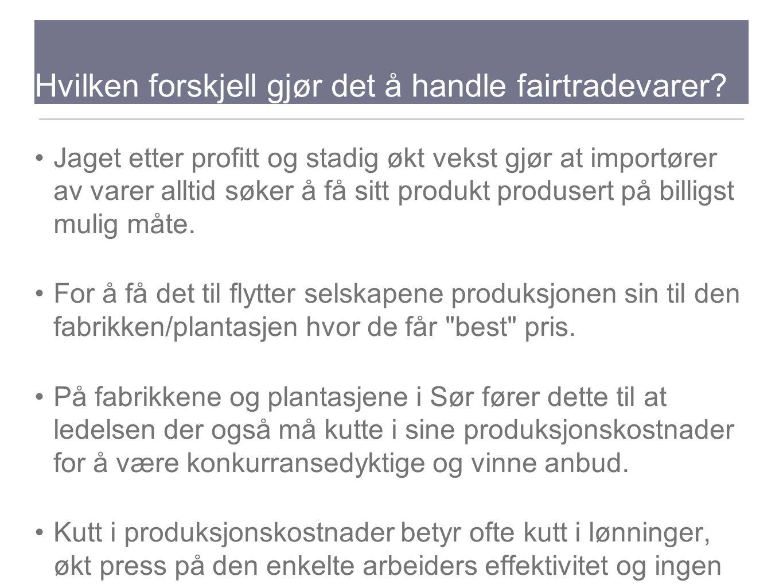 Hvilken forskjell gjør det å handle fairtradevarer? Jaget etter profitt og stadig økt vekst gjør at importører av varer alltid søker å få sitt produkt