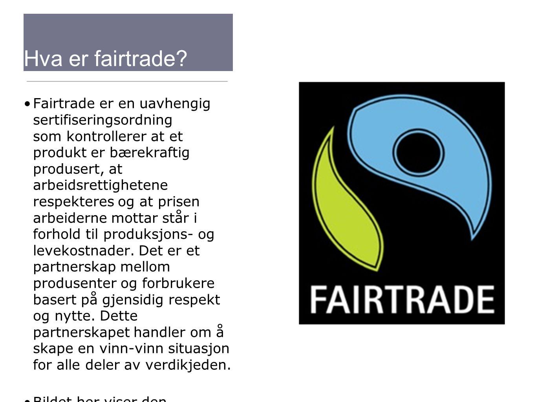 Hva er fairtrade? Fairtrade er en uavhengig sertifiseringsordning som kontrollerer at et produkt er bærekraftig produsert, at arbeidsrettighetene resp