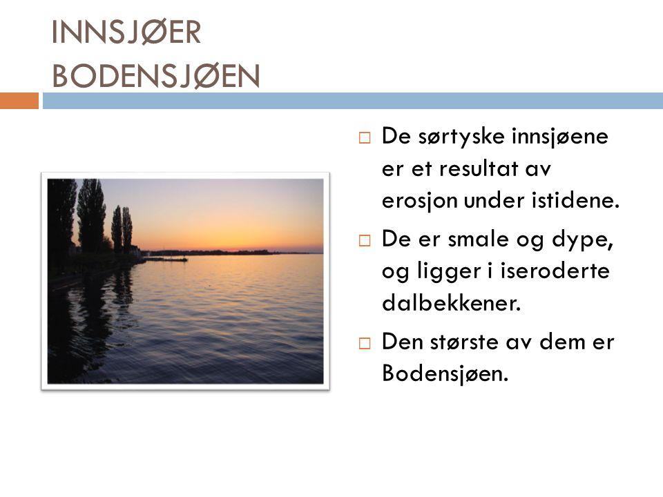 INNSJØER BODENSJØEN  De sørtyske innsjøene er et resultat av erosjon under istidene.