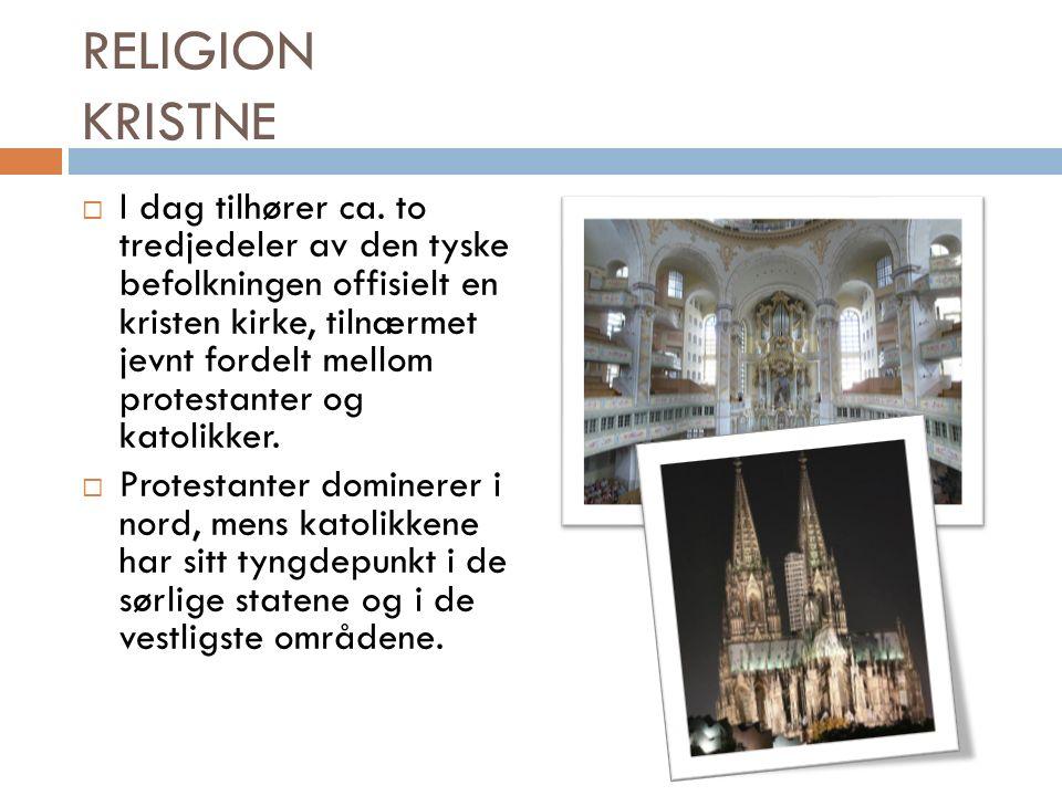 RELIGION KRISTNE  I dag tilhører ca.
