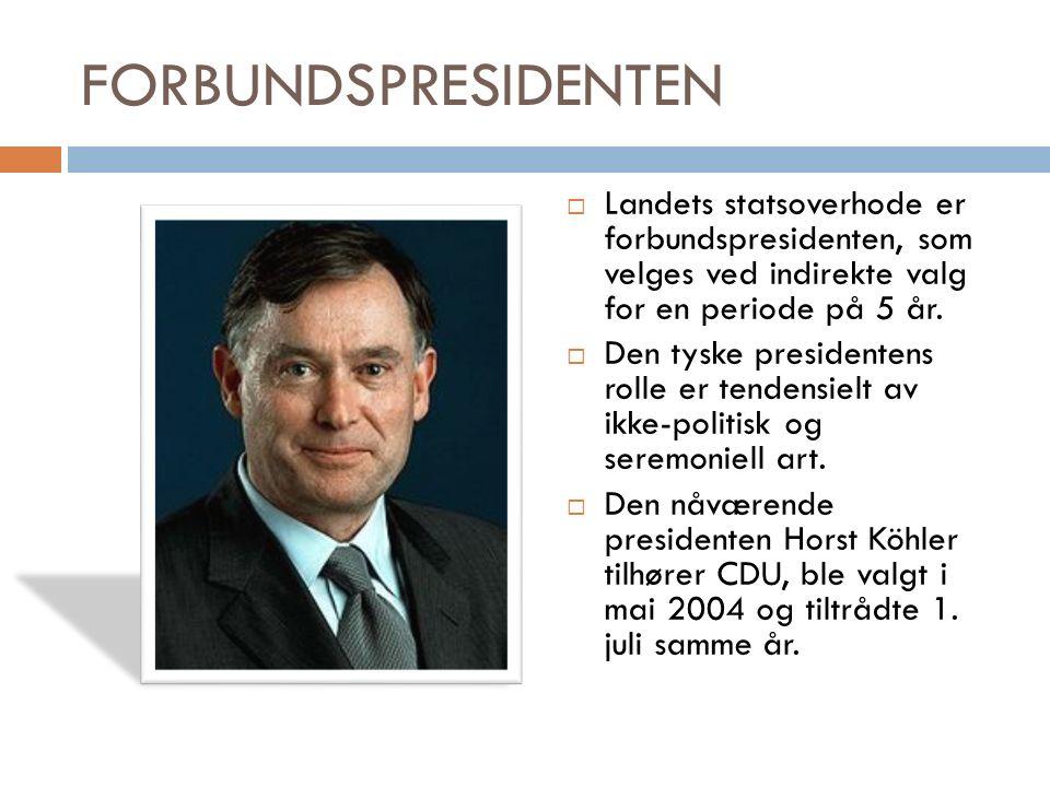 FORBUNDSPRESIDENTEN  Landets statsoverhode er forbundspresidenten, som velges ved indirekte valg for en periode på 5 år.