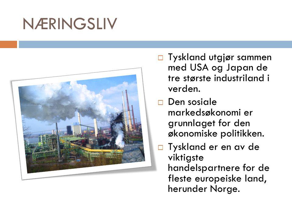 NÆRINGSLIV  Tyskland utgjør sammen med USA og Japan de tre største industriland i verden.
