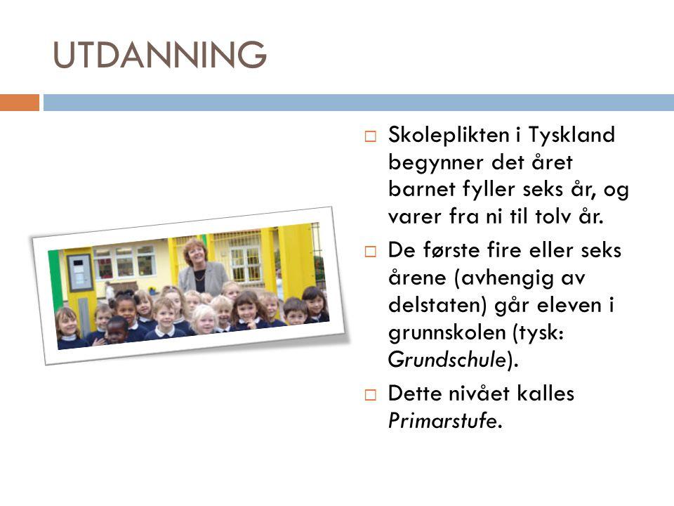 UTDANNING  Skoleplikten i Tyskland begynner det året barnet fyller seks år, og varer fra ni til tolv år.