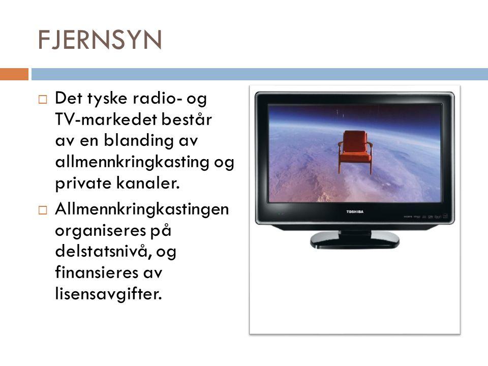 FJERNSYN  Det tyske radio- og TV-markedet består av en blanding av allmennkringkasting og private kanaler.
