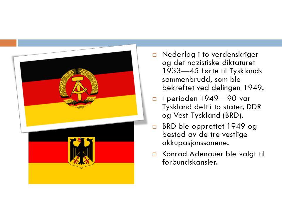  Nederlag i to verdenskriger og det nazistiske diktaturet 1933—45 førte til Tysklands sammenbrudd, som ble bekreftet ved delingen 1949.