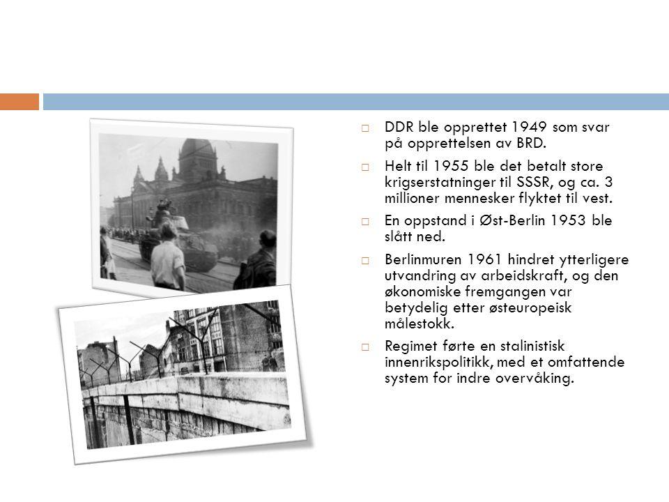  DDR ble opprettet 1949 som svar på opprettelsen av BRD.