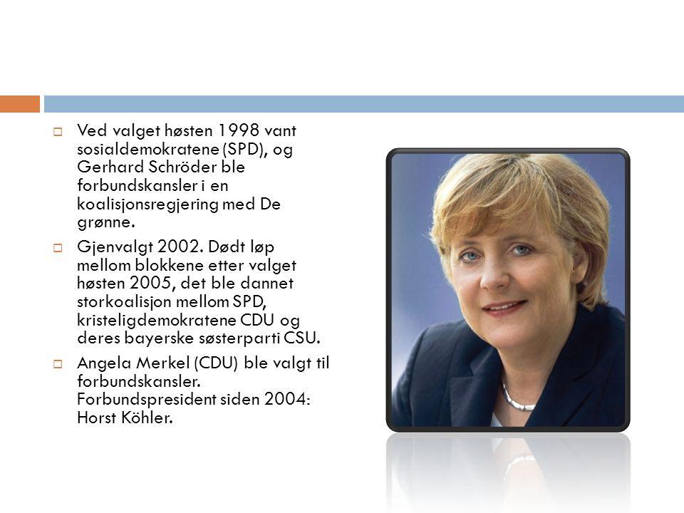  Ved valget høsten 1998 vant sosialdemokratene (SPD), og Gerhard Schröder ble forbundskansler i en koalisjonsregjering med De grønne.