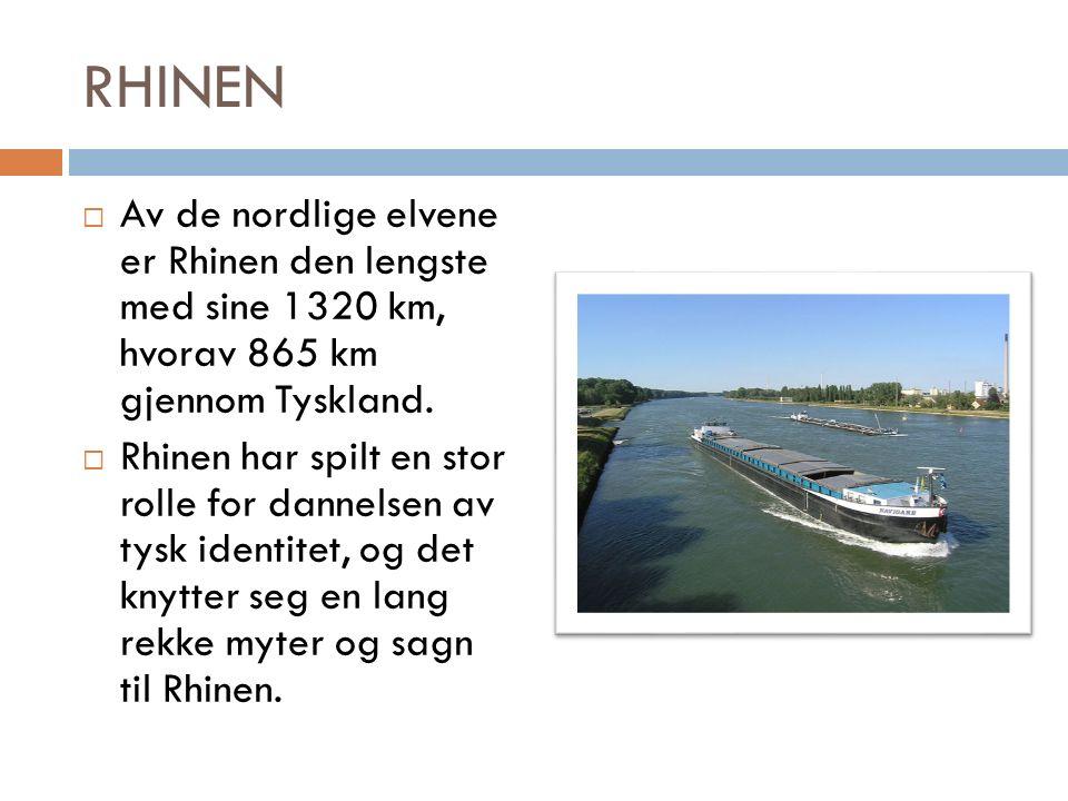 RHINEN  Av de nordlige elvene er Rhinen den lengste med sine 1320 km, hvorav 865 km gjennom Tyskland.