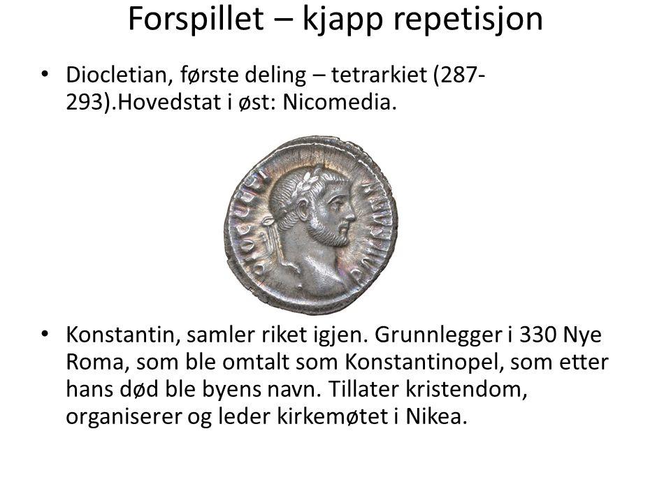 Forspillet – kjapp repetisjon Diocletian, første deling – tetrarkiet (287- 293).Hovedstat i øst: Nicomedia. Konstantin, samler riket igjen. Grunnlegge