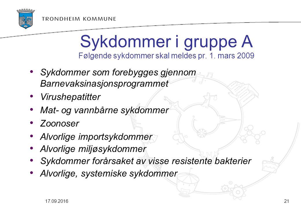 Sykdommer i gruppe A Følgende sykdommer skal meldes pr. 1. mars 2009 Sykdommer som forebygges gjennom Barnevaksinasjonsprogrammet Virushepatitter Mat-