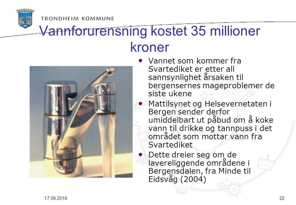 17.09.201622 Vannforurensning kostet 35 millioner kroner Vannet som kommer fra Svartediket er etter all sannsynlighet årsaken til bergensernes magepro