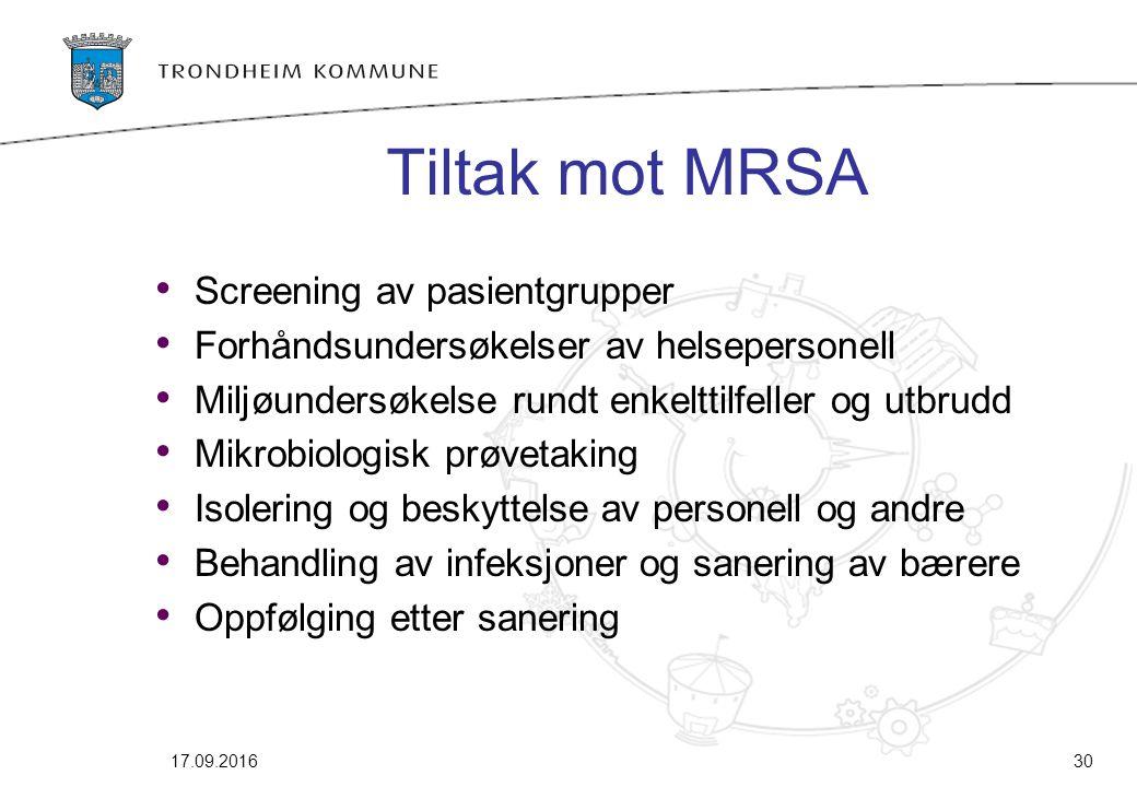 17.09.201630 Tiltak mot MRSA Screening av pasientgrupper Forhåndsundersøkelser av helsepersonell Miljøundersøkelse rundt enkelttilfeller og utbrudd Mi