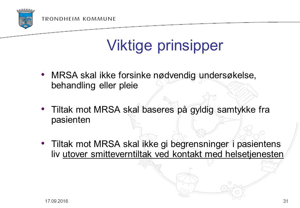Viktige prinsipper MRSA skal ikke forsinke nødvendig undersøkelse, behandling eller pleie Tiltak mot MRSA skal baseres på gyldig samtykke fra pasiente